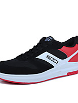 Men's Sneakers Spring Summer Mary Jane Comfort PU Outdoor Athletic Casual Running Flat Heel Lace-up Black/White Black/Red Black