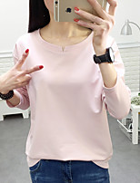 Women's Casual/Daily Simple T-shirt,Solid Round Neck ¾ Sleeve Cotton