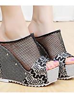Women's Heels Spring Comfort PU Tulle Casual Beige Silver Black