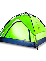 3-4 persons Tent Double Automatic Tent One Room Camping Tent 2000-3000 mm Fiberglass Oxford Waterproof Portable-Hiking Camping-Green