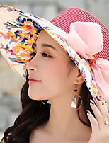 Women Ribbon Bow Stitching Color Flower Print Straw Hat Sun Summer Dome Sun Hat