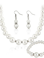 Jewelry Set Basic Imitation Pearl Alloy Round 1 Necklace 1 Pair of Earrings Earrings For Wedding Party Special Occasion Casual 1 Set