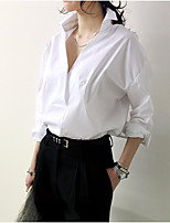 Women's Casual/Daily Simple Shirt,Solid V Neck Long Sleeve Cotton