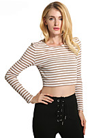 Lztlylzt Women's Casual/Daily Short PulloverStriped Round Neck Long Sleeve Cotton Polyester Spring Summer Thin Micro-elastic