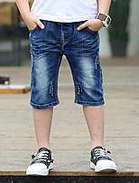 Para Meninos Jeans Happy-Hour Casual Escola Bordado Verão Algodão