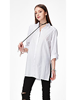 Women's Going out Casual/Daily Work Simple Street chic All Seasons Shirt,Solid Shirt Collar Long Sleeve Cotton Acrylic Opaque