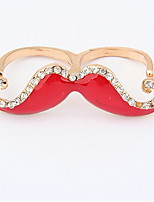 Korean Style Delicate Adorable Rhinestone  multicolor PartyThe Beard Double Loop Ring Gift Jewelry