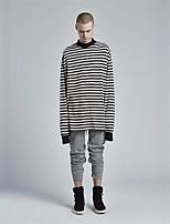 Sweatshirt Homme Grandes Tailles Décontracté / Quotidien Actif Rayé Col Arrondi Lin Manches longues