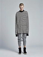 Men's Plus Size Casual/Daily Active Sweatshirt Striped Round Neck Inelastic Linen