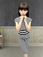 Girls' Fashion In Lovely Bar T-shirt  Wide-Legged Pants Two-Piece Dress