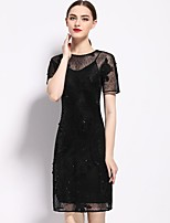 Women's Going out Sophisticated Tunic Dress,Solid Embroidered Round Neck Above Knee Short Sleeve Polyester Spring Mid Rise Inelastic