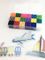 Approx 5400PCS 18 Color 5MM Fuse Beads Set with 3PCS Random Mixed Shape Template Clear Pegboard Train Plane Boat DIY Jigsaw(Set A 18*300PCS)