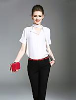 Для женщин На выход На каждый день Пляж Лето Блуза V-образный вырез,Простое Очаровательный Уличный стиль Однотонный С короткими рукавами,