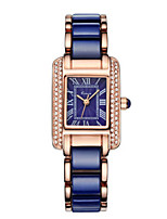 Women's Fashion Watch Chinese Quartz Ceramic Band White Blue Rose Gold Blue White