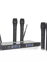 Dual 4 Channel LED WIRELESS Microphone System with 4 CORDLESS MIC for KTV Family Entertainment