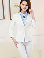 Women's Work Party Simple Spring Summer Blazer,Solid Peaked Lapel Long Sleeve Short Others
