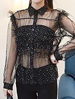 Для женщин Нарядная Офис Вечеринка/коктейль Весна Лето Блуза Рубашечный воротник,Секси Очаровательный Уличный стиль ГалактикаДлинный