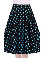Women's Black Blue Polka Dot Going out Casual/Daily Knee-length Skirts Vintage Swing Dress All Seasons Mid Rise