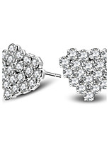 Silver Plated Earring Stud Heart Earrings Wedding / Party / Daily / Casual 2pcs