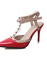 Women's Heels Spring Summer Formal Shoes Patent Leather Party & Evening Dress Stiletto Heel Rivet Buckle  Walking Shoes