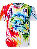 Tee-shirt Homme,Imprimé Sortie Habillées simple Actif Eté Manches Courtes Col Arrondi Coton Moyen