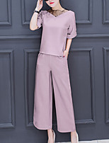 Women's Going out Casual/Daily Party/Cocktail Sexy Street chic Sophisticated Spring Summer Blouse Pant Suits,Solid Round Neck Short Sleeve