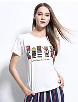 Damen Druck Buchstabe Niedlich Anspruchsvoll Lässig/Alltäglich Urlaub T-shirt,Rundhalsausschnitt Frühling Sommer Kurzarm Polyester Dünn