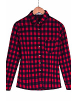 Women's Going out Simple Shirt,Plaid Shirt Collar Long Sleeve Cotton