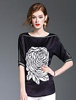 Damen Stickerei Niedlich Ausgehen Lässig/Alltäglich Hemd,Rundhalsausschnitt Kurzarm Polyester Mittel