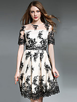 Women's Going out Party Vintage Cute Sheath Dress Embroidered Round Neck Short Sleeve Spring Summer