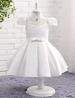 A-라인 무릎 길이 플라워 걸 드레스 - 레이스 새틴 쉬폰 하이 넥 와 리본 레이스 주름