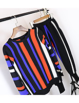 Women's Casual/Daily Sports Active Fall Hoodie Dress Suits,Striped Round Neck Long Sleeve Rayon Silk