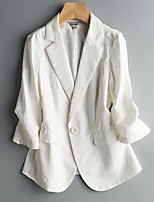 Women's Casual/Daily Simple Spring Blazer,Solid Notch Lapel Long Sleeve Long Linen