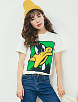 Women's Going out Casual/Daily Simple Cute Summer T-shirt,Solid Print Round Neck Short Sleeve Cotton Thin