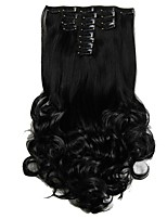 Synthetic Hair False Hair Extensions 20inch 150g Curly Hairpiece Heat Resistant Hair D1022 1B#