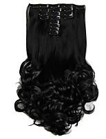 נתפס עם קליפס סינטטי תוספות שיער 150 הַאֲרָכַת שֵׂעָר