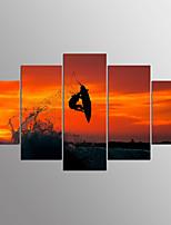 Gestreckte Leinwanddruck Landschaft modern, fünf Tafeln Leinwand jede Form drucken Wanddekor für Wohndekoration