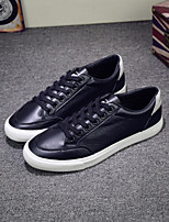 Men's Sneakers Spring Comfort Microfibre Outdoor Casual Flat Heel Black/White Black White