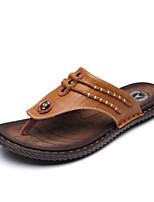 Men's Slippers & Flip-Flops Summer Comfort Cowhide Casual Flat Heel Blue Yellow Black