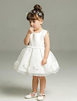 Ball Gown Short / Mini Flower Girl Dress - Organza Jewel with Appliques Bow(s) Sash / Ribbon