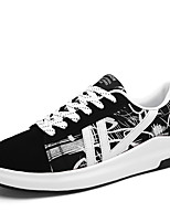 Men's Sneakers Spring Fall Comfort PU Casual Lace-up Black/White Black/Red Walking