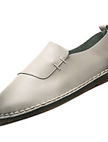 Men's Loafers & Slip-Ons Spring Fall Comfort PU Outdoor Flat Heel Khaki Gray Beige Black