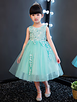 Ball Gown Knee-length Flower Girl Dress - Cotton Lace Organza Jewel with Appliques Beading Lace