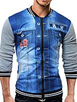 Men's Casual/Daily Sports Sweatshirt Print Peter Pan Collar strenchy Cotton