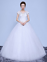 A-line Wedding Dress Floor-length V-neck Cotton Lace Tulle with Appliques Lace Pattern Sequin