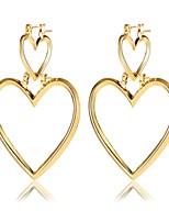 Boucles d'oreille goutte Cœur Alliage Forme de Coeur Or Argent Bijoux Pour Anniversaire Quotidien 1 paire