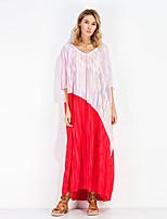 Для женщин На выход На каждый день Простое Очаровательный Свободный силуэт Платье Контрастных цветов,V-образный вырез Макси Рукав ½