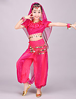 Belly Dance Outfits Kid's Performance Chiffon Spandex Coins Pleated Sequins 4 Pieces Short Sleeve Dance Costume Natural Top / Veil / Hip Scarf / Pants