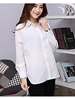 Women's Casual/Daily Simple Spring Shirt,Solid Shirt Collar Long Sleeve Others Thin