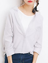 Women's Casual/Daily Simple Shirt,Striped Stand ¾ Sleeve Cotton